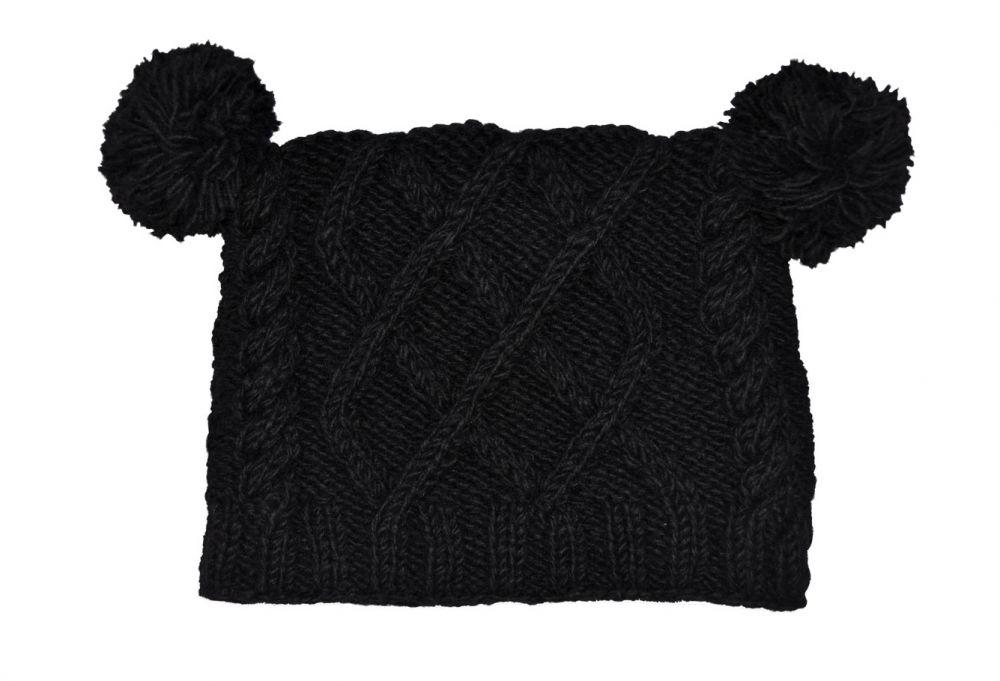 3cb1c8ae8c52e Pure wool - square cable - pom pom hat - Black
