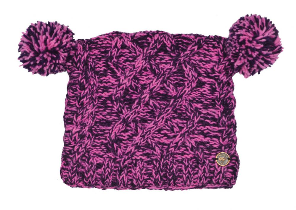 1804b48a674ac Pure wool - square cable - pom pom hat - Pink Purple