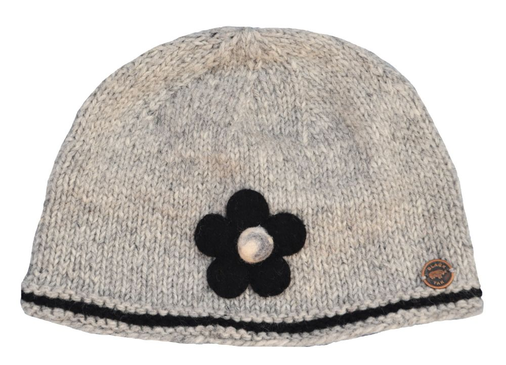 Half fleece lined - pure wool - felt flower beanie - Grey Black ... 8f837dff748