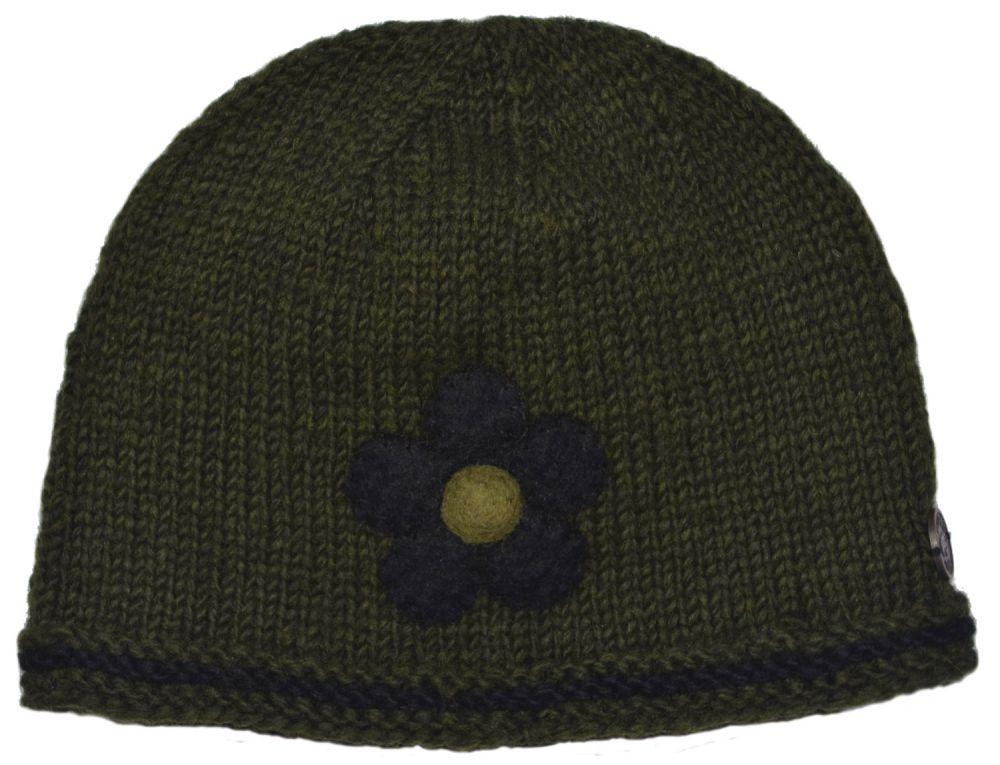 3afc7a04dc5 Half fleece lined - pure wool - felt flower beanie - Green Black ...