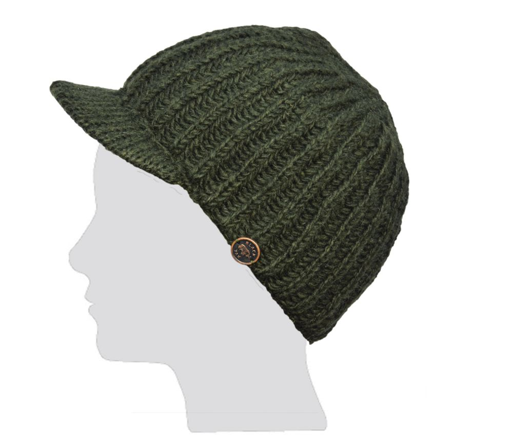 Hand knit - pure wool - ribbed - peak hat - Dark green  1d132ac1512
