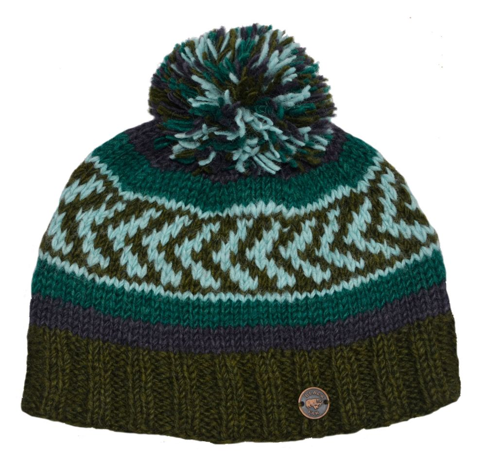 7527a2e5339e95 Multi patterned - hand knit - bobble hat - Green | Black Yak