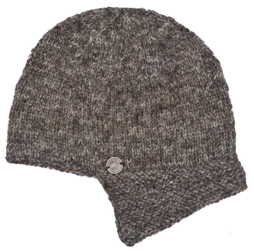 9789ab7197c66 Half fleece lined - hand knit - helmet hat - Marl Brown