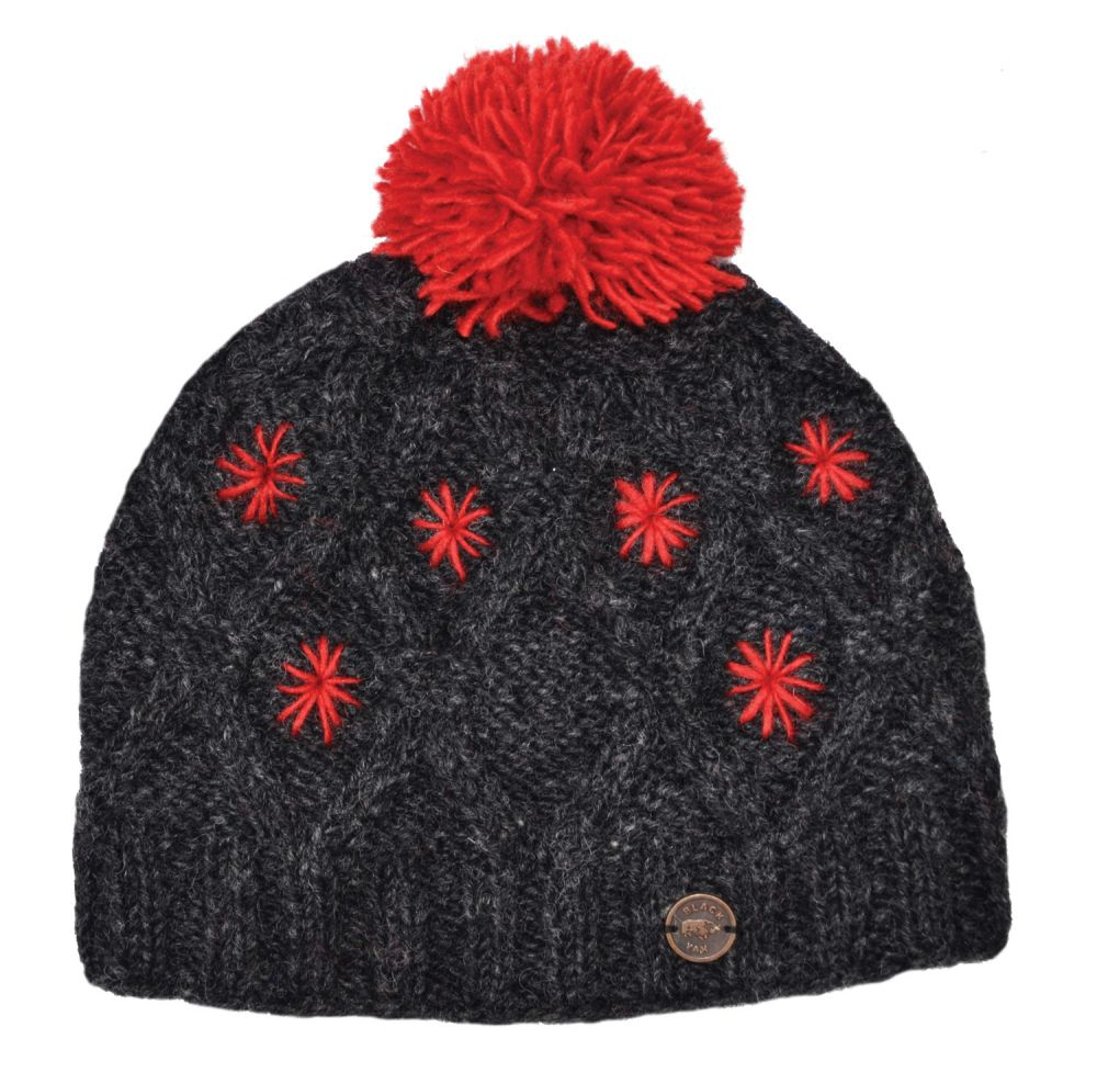 db88c576 pure wool - diamond cable bobble hat - Charcoal/Red | Black Yak