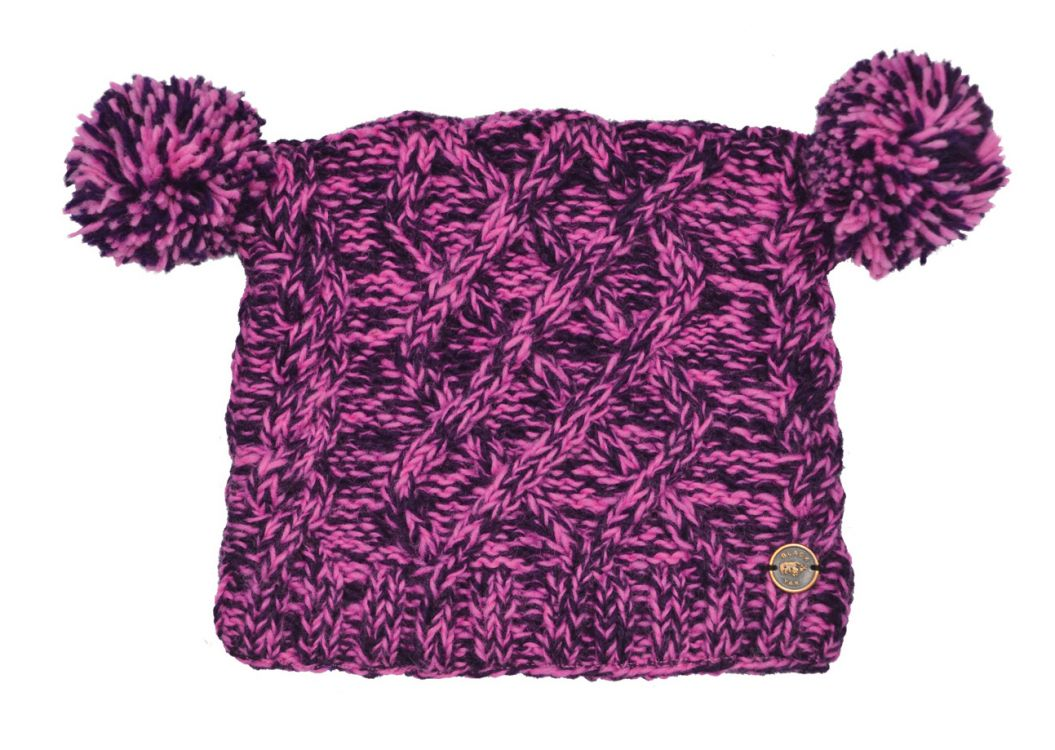 Pure wool - square cable - pom pom hat - Pink/Purple