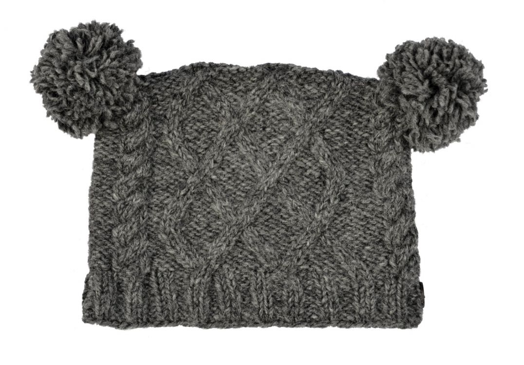 Pure wool - square cable - pom pom hat - Mid Grey