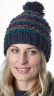 Blackberry bobble hat - hand knitted - pure wool - smoke