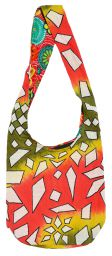 Long handled - geometric tie-dye - beach bag - green/orange