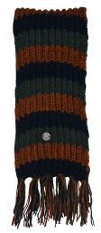 Long pure wool - striped Scarf - green/black/brown