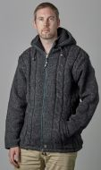 Fleece lined - detachable hood - cable jacket - Grey
