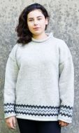 hand knit  jumper - Zig zag - pale grey