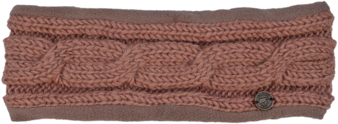 Fleece lined headband - cable - Blush