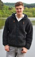 Fleece lined hooded jacket - moss stitch - Charcoal