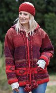 Hand knit - pixie hooded jacket - graduated  Red