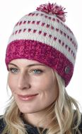 Double tick bobble hat - pure wool - pink / purple