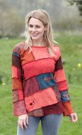Slanted patchwork - embroidered - button top - soft reds