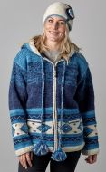 Hand knit - pixie hooded jacket - graduated Blue