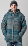 detachable hood - two tone random stripe - teal/grey