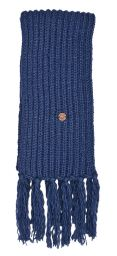 Long hand knit - fringed scarf - denim blue