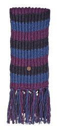 Long hand knit - striped Scarf - grey/blue/smoke
