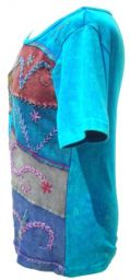 Embroidered Patchwork T-Shirt - Turquoise