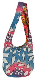 Long handled - geometric tie-dye - beach bag - blue/pink