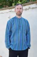 Light weight - Striped Cotton Shirt - Blue/multicoloured