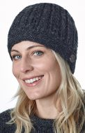 Lace cable beanie - hand knitted - pure wool - charcoal