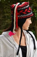 half fleece lined - fancy ear flap hat - Black/White/Red