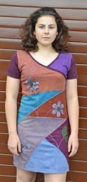 Applique flower - short sleeve tunic - aubergine
