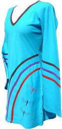 ***SALE*** - Cotton Tunic - Embroidered Dragonflies - Turquoise