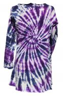 Tie dye - swirl pattern tunic - purple/white