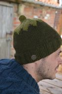 Hand knit pure wool - top notch beanie - dark/mid green