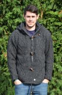 Detachable hood - simple cable toggle jacket - charcoal