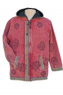 Stonewashed  - Printed  - Border Jacket - Raspberry