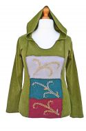 Hooded - large squares - stonewashed top - green