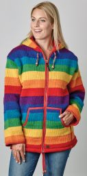 Fleece lined - hooded jacket - Rainbow stripe