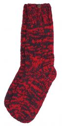Pure wool - hand knit socks - red/smoke two tone