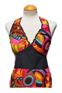 Tropical Print - Halter Neck Dress - Bright Pink