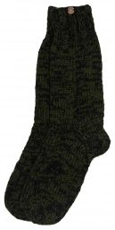 Pure wool - hand knit socks - green/black two tone