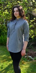 Fine cotton - coconut button top - grey