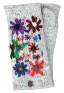 Hand embroidered flower - fleece lined - wristwarmer - pale grey