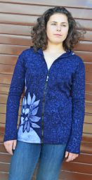 Batik flower - hooded jacket - blue