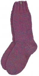 Pure wool - hand knit socks -  plain pink heather