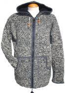 Fleece lined hooded jacket - moss stitch - Two Tone Grey