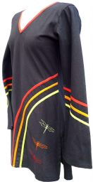 ***SALE*** - Cotton Tunic - Embroidered Dragonflies - Black