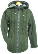 SALE - Detachable pixie hood - cable jacket - Green
