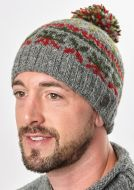 Festive Bobble - pure wool - fleece lined - grey