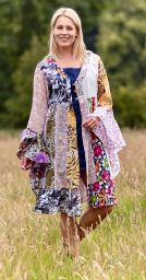 Cotton Patchwork - Jaipuri - Midi Coat - white
