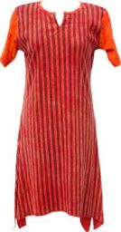 Stonewashed Striped Dress - red
